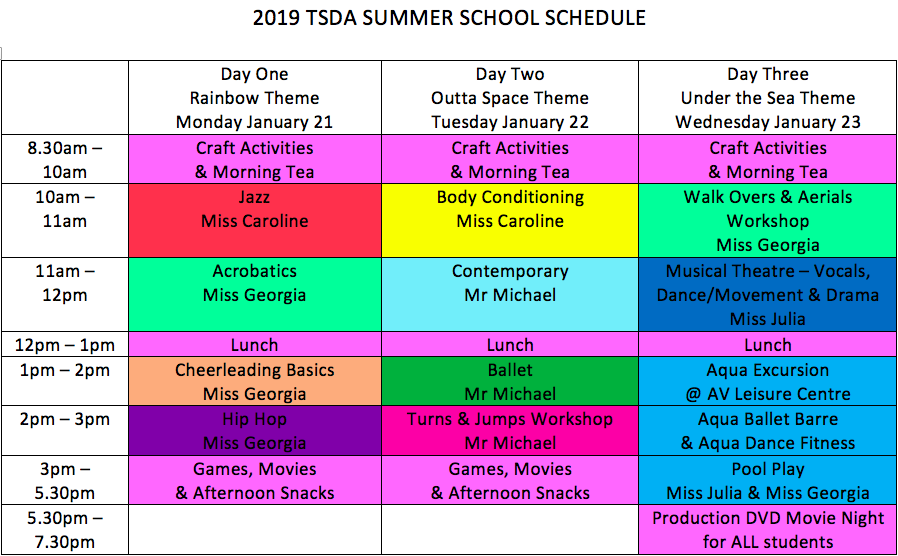 Summer School Timetable