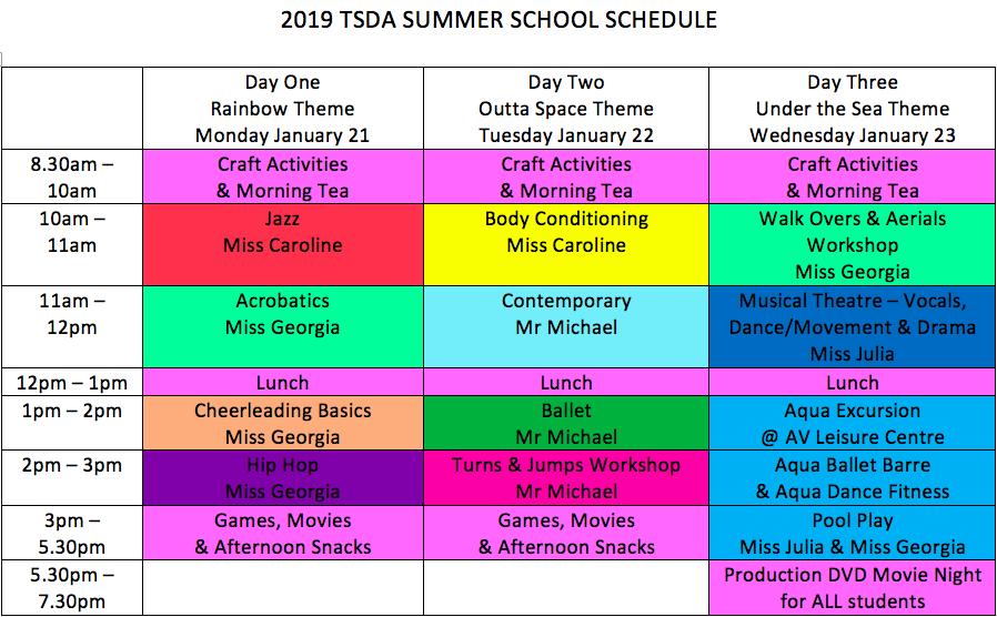 Summer School Timetable